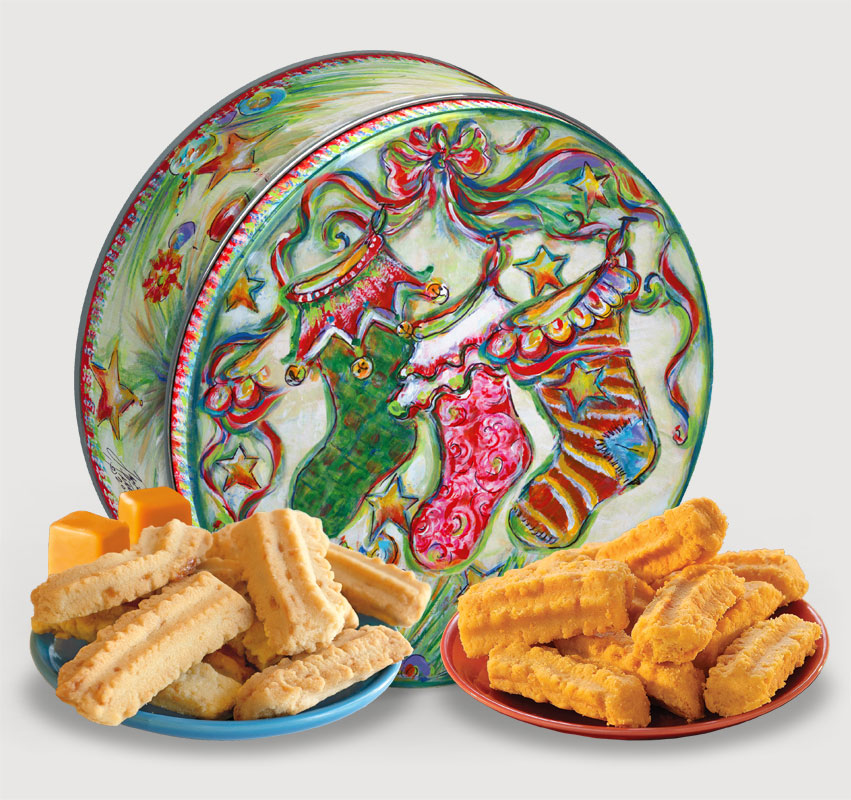 2015 Gail Pittman® Holiday Gift Tin Cheddar, Cheese Straws, Straw, savory, spicy, 8, 16, ounce, gift, tin, Mississippi, Factory, 1 lb, pound, shortbread, cheesy, hors d'oeuvre, sea, salt, caramel, Cookie Straws, cookie, dessert, sweet, sugar, confection, Gail, Pittman, collectible, 2015