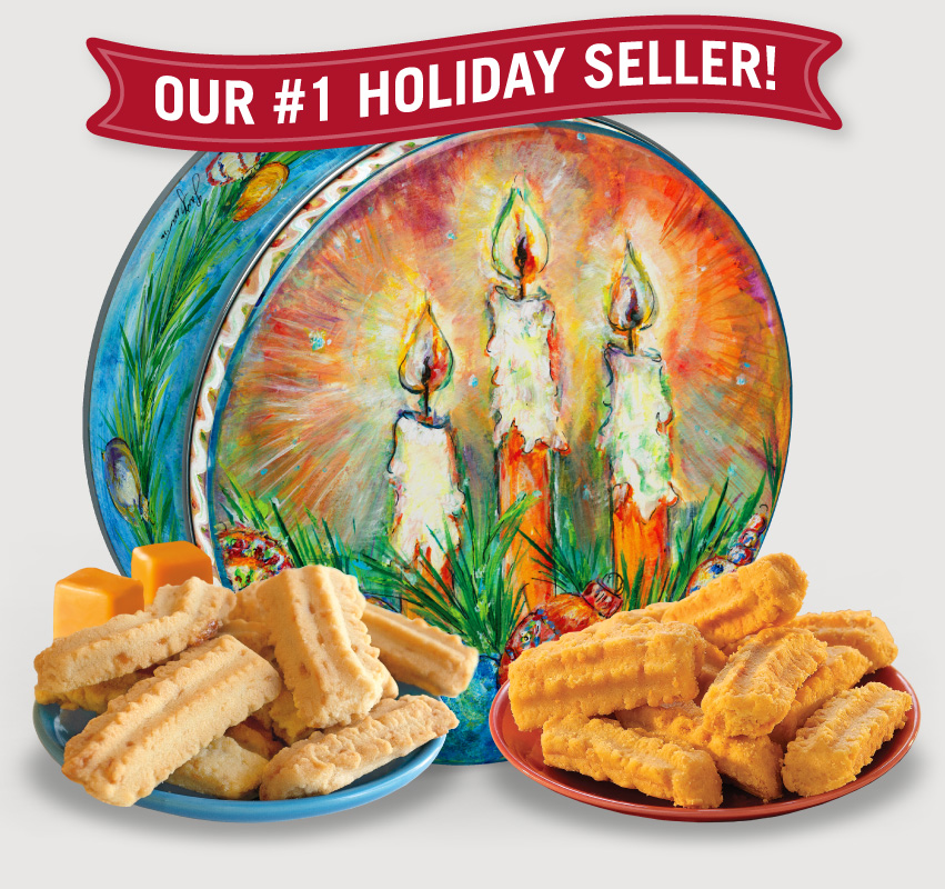 2016 Gail Pittman® Holiday Gift Tin Cheddar, Cheese Straws, Straw, savory, spicy, 8, 16, ounce, gift, tin, Mississippi, Factory, 1 lb, pound, shortbread, cheesy, hors d'oeuvre, sea, salt, caramel, Cookie Straws, cookie, dessert, sweet, sugar, confection, Gail, Pittman, collectible, 2015