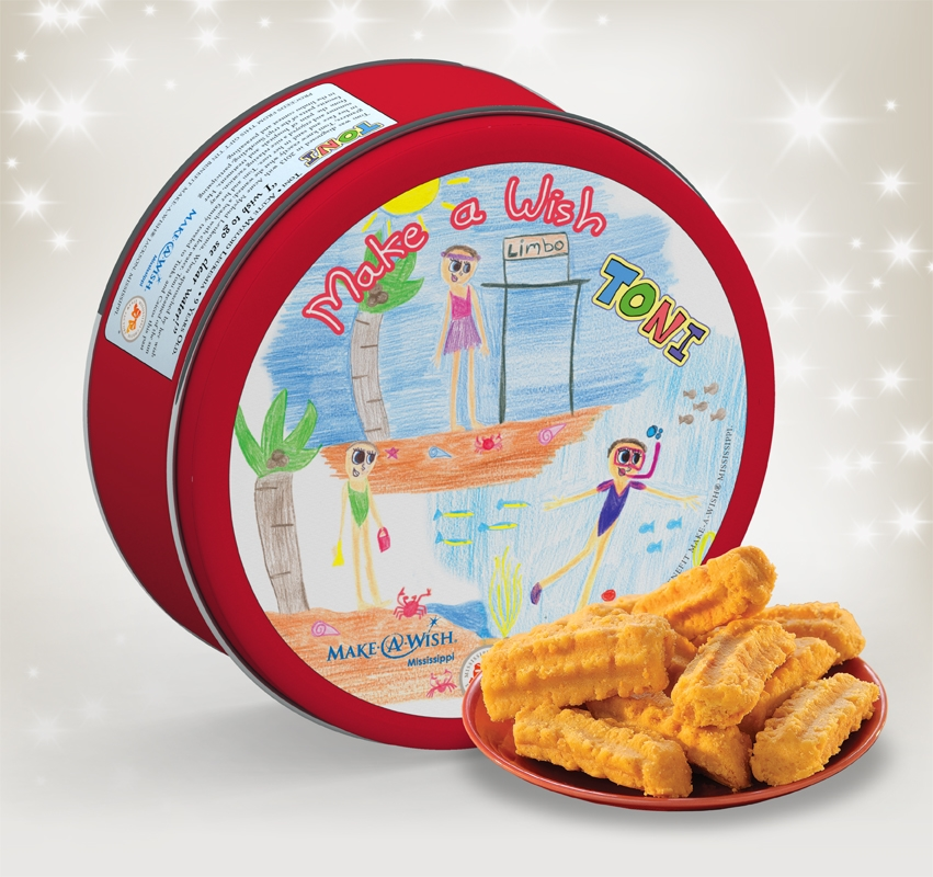 Make-A-Wish® Mississippi 2014 Gift Tin Cheddar, Cheese Straws, Straw, savory, spicy, 16, one pound, gift, tin, Mississippi, Factory, shortbread, cheesy, hors d'oeuvre, Make-A-Wish, charity, Toni, 2014