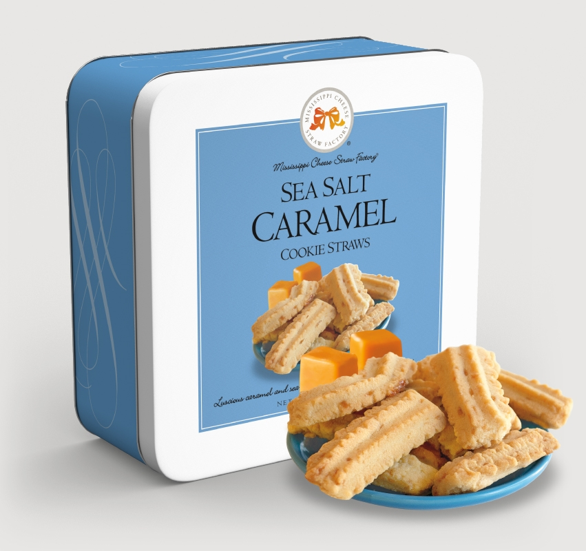 Sea Salt Caramel Cookie Straws 10 oz. Gift Tin buttery, hors d'oeuvre, sea, salt, caramel, Cookie Straws, Straw, cookie, dessert, sweet, sugar, 10, ounce, gift, tin, Mississippi, Factory, confection, shortbread