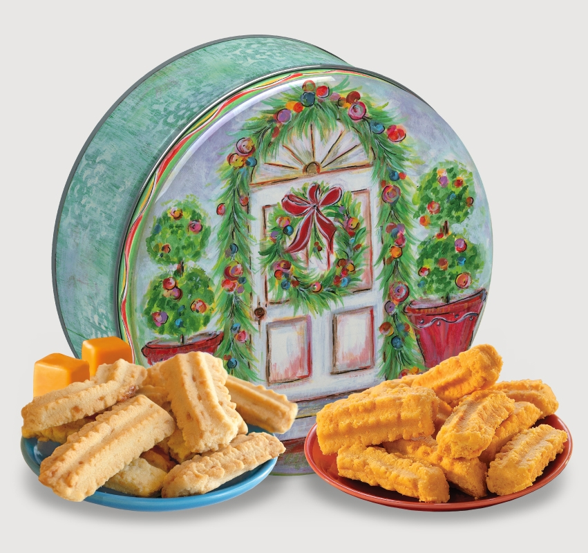 2014 Gail Pittman® Holiday Gift Tin Cheddar, Cheese Straws, Straw, savory, spicy, 8, 16, ounce, gift, tin, Mississippi, Factory, 1 lb, pound, shortbread, cheesy, hors d'oeuvre, sea, salt, caramel, Cookie Straws, cookie, dessert, sweet, sugar, confection, Gail, Pittman, collectible, 2014