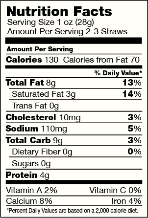 Three Cheese Cheese Straws Nutrition