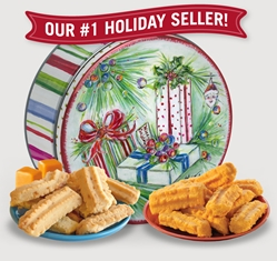 2017 Gail Pittman® Holiday Gift Tin Cheddar, Cheese Straws, Straw, savory, spicy, 8, 16, ounce, gift, tin, Mississippi, Factory, 1 lb, pound, shortbread, cheesy, hors d'oeuvre, sea, salt, caramel, Cookie Straws, cookie, dessert, sweet, sugar, confection, Gail, Pittman, collectible, 2015
