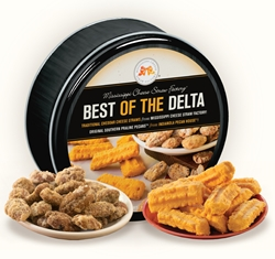 Best Of The Delta Gift Tin Cheddar, Cheese Straws, Straw, savory, spicy, 8, 16, ounce, gift, tin, Mississippi, Factory, 1 lb, pound, shortbread, cheesy, hors doeuvre, pecan, praline, Southern, dessert, sweet, sugar, confection