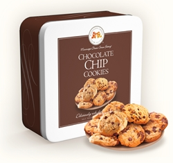 Chocolate Chip Cookies 10 oz. Gift Tin chocolate, chip, cookies, dessert, sweet, sugar, 10, ounce, gift, tin, Mississippi, Factory, confection, buttery, hors doeuvre, classic, mini, baked