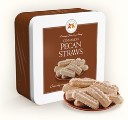 Cinnamon Pecan Straws™ 10 oz. Gift Tin cinnamon, pecan, straw, cookie, dessert, confection, sugar, sweet, 10, ounce, gift, tin, Mississippi, Factory, shortbread, confection, buttery, hors doeuvre