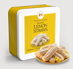 Original Lemon Straws® 10 oz. Gift Tin Lemon, Cookie Straws, Straw, cookie, dessert, citrus, fruit, sweet, sugar, 10, ounce, gift, tin, Mississippi, Factory,