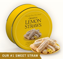 Original Lemon Straws® 16 oz. Gift Tin Lemon, Cookie Straws, Straw, cookie, dessert, citrus, fruit, sweet, sugar, 16, ounce, gift, tin, Mississippi, Factory, 1 lb, pound, shortbread, confection, buttery, hors d'oeuvre