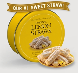 Original Lemon Straws® 16 oz. Gift Tin Lemon, Cookie Straws, Straw, cookie, dessert, citrus, fruit, sweet, sugar, 16, ounce, gift, tin, Mississippi, Factory, 1 lb, pound, shortbread, confection, buttery, hors doeuvre