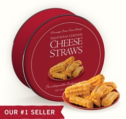 Traditional Cheddar Cheese Straws 16 oz. Gift Tin Cheddar, Cheese Straws, Straw, savory, spicy, 16, one pound, gift, tin, Mississippi, Factory, shortbread, cheesy, hors d'oeuvre