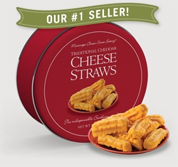 Traditional Cheddar Cheese Straws 16 oz. Gift Tin Cheddar, Cheese Straws, Straw, savory, spicy, 16, one pound, gift, tin, Mississippi, Factory, shortbread, cheesy, hors doeuvre