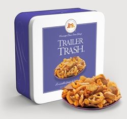 Trailer Trash™ 10 oz. Gift Tin trailer, trash, snack, mix, snack mix, pretzels, peanuts, chex mix, sesame, sticks, bread, crisps, spicy, savory, cocktail, hors doeuvre, party, Mississippi, Factory, 10, ounce, tin, gift