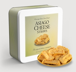 Asiago Cheese Straws 10 oz. Gift Tin Cheese, Cheese Straws, straw, savory, spicy, asiago, italian, 10, ounce, gift, tin, Mississippi, Factory, shortbread, cheesy, hors doeuvre
