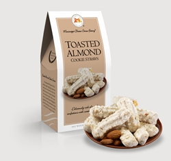 Toasted Almond Cookie Straws 3.5 oz. Carton toasted, almond, Cookie Straws, Straw, cookie, dessert, nuts, sweet, sugar, 3.5, ounce, gift, carton, Mississippi, Factory, shortbread, confection, buttery, hors doeuvre,