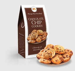 Chocolate Chip Cookies 2.5 oz. Carton chocolate, chip, cookies, dessert, sweet, sugar, 2.5, ounce, gift, carton, Mississippi, Factory, confection, buttery, hors doeuvre, classic, mini, baked