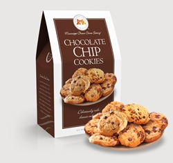 Chocolate Chip Cookies 5.5 oz. Carton chocolate, chip, cookies, dessert, sweet, sugar, 5.5, ounce, gift, carton, medium, Mississippi, Factory, confection, buttery, hors doeuvre, classic, mini, baked