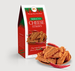 Sriracha Cheese Straws 3.5 oz. Carton Cheese, Cheese Straws, straw, savory, spicy, sriracha, chili, pepper, hot, rooster, sauce, 3.5, ounce, gift, carton, Mississippi, Factory