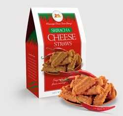 Sriracha Cheese Straws 6.5 oz. Carton shortbread, cheesy, hors doeuvre, asian, Cheese, Cheese Straws, straw, savory, spicy, sriracha, chili, pepper, hot, rooster, sauce, 6.5, ounce, gift, carton, Mississippi, Factory