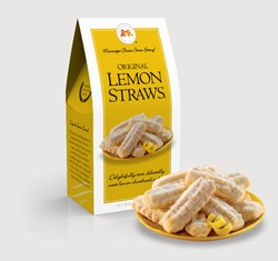 Original Lemon Straws® 3.5 oz. Carton Lemon, Cookie Straws, Straw, cookie, dessert, citrus, fruit, sweet, sugar, 3.5, ounce, gift, carton, Mississippi, Factory,