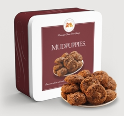 Mudpuppies® 10 oz. Gift Tin chocolate, chip, cookie, oats, pecans, sweet, dessert, 10, ounce, gift, tin, Mississippi, Factory