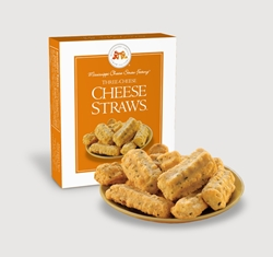 Three Cheese Cheese Straws™ 1 oz. Single Cheese, Cheese Straws, straw, savory, spicy, white cheddar, cheddar, parmesan, bleu, blue, basil, garlic, 1, ounce, gift, carton, single, Mississippi, Factory, shortbread