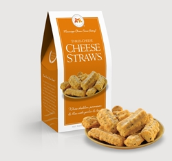 Three Cheese Cheese Straws™ 3.5 oz. Carton Cheese, Cheese Straws, straw, savory, spicy, white cheddar, cheddar, parmesan, bleu, blue, basil, garlic, 3.5, ounce, gift, carton, Mississippi, Factory, shortbread